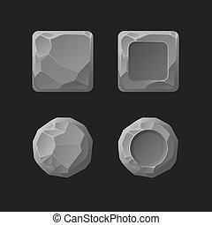 Cartoon stone game ui assets set, isolated on white, vector