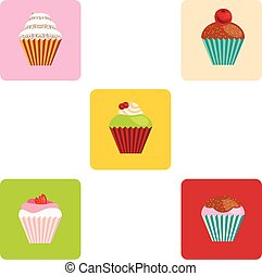 set of cartoon-style cute muffin icons
