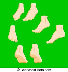 Set of cartoon-style girl foots in different positions