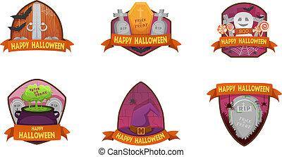 Set of cartoon style Happy Halloween labels