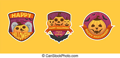 Set of cartoon style Happy Halloween labels