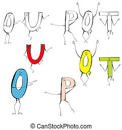 Set of cartoon style letters U, O, P, Q, T