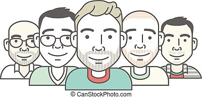 set of cartoon-style vector hipster characters