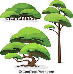 Set of cartoon stylized tree and bush.
