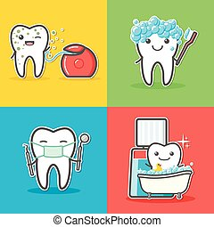 Set of cartoon teeth care and hygiene concepts. Floss, toothbrush, mouthwash, mirror, probe. Treatment, and hygiene. Healthy happy teeth vector illustration