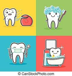 Set of cartoon teeth care and hygiene concepts. Floss,...
