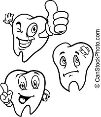 set of cartoon teeth