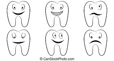Set of cartoon teeth, the molars with the emotions on the face, tooth vector comic pop art style, smile, anger and fun, lnfographics chart, dental office