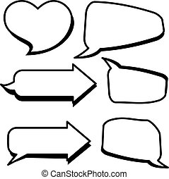 Set of cartoon text boxes with arrow shape, heart shape vector illustration. Bubbles blank speech.