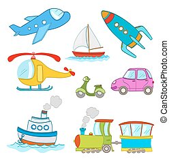 set of cartoon transportation on white. steamship, airplane, car, boat, train,helicopter, rocket.vector