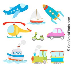 set of cartoon transportation on white. airplane, car, boat, train,helicopter, rocket.vector