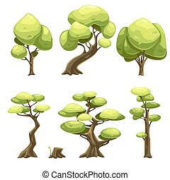 set of cartoon trees