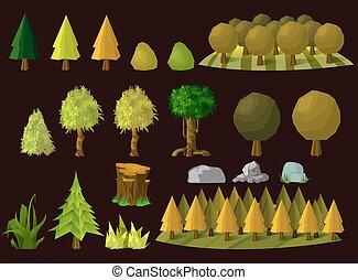 Set of cartoon trees, vector illustration