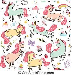 set of cartoon unicorns