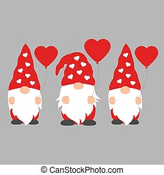 Set of Cartoon Valentine Gnomes isolated on a gray...