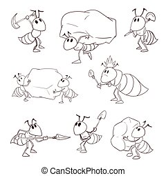 Set of cartoon vector ants