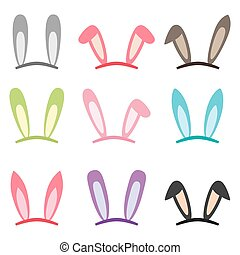 Set of cartoon vector bunny and rabbit ears for easter