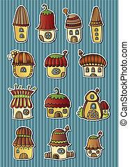 Set of cartoon vector fairytale houses