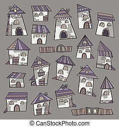 Set of cartoon vector houses