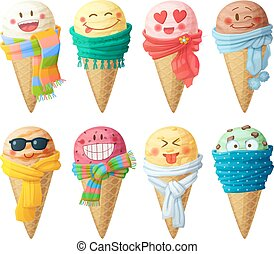 Set of cartoon vector icons isolated on white background. Ice cream scoops characters
