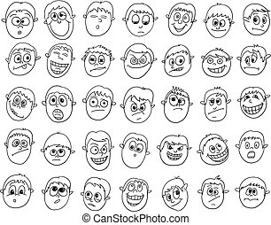 Set of Cartoon Vector Male Boy Faces
