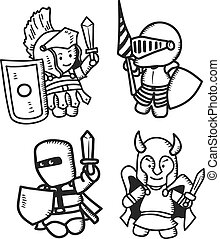 set of cartoon warrior
