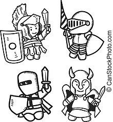 set of cartoon warrior