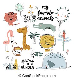 Set of cartoon wild animals on white background