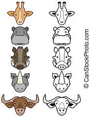 Set of cartoon wild or zoo animals.