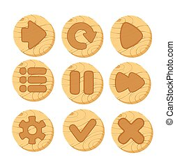 cartoon wooden vector buttons for game