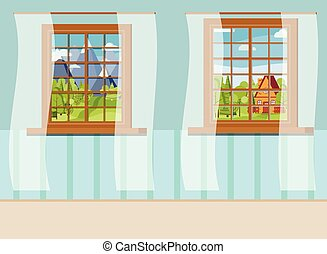 Set of cartoon wooden window view with white curtains in flat style.