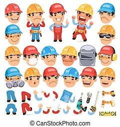 Set of Cartoon Worker Character for Your Design or ...