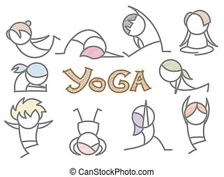 set of cartoon yoga line art