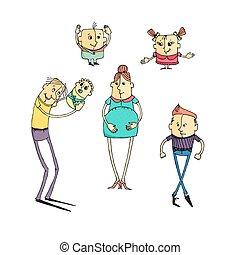 Set of cartoons family