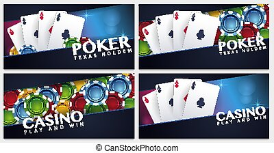 Set of Casino banners with casino chips and cards. Poker club texas holdem. Vector illustration.