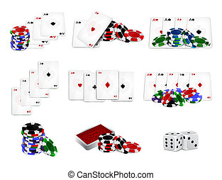 Set of casino chips and cards. EPS10 vector