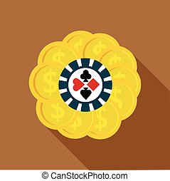 Set of casino chips icon, flat style