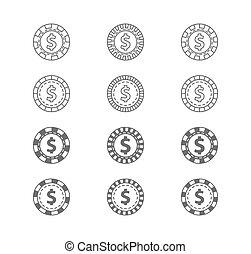 Set of casino gambling chips