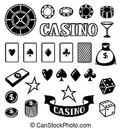 Set of casino gambling game objects and icons