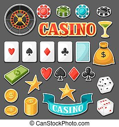 Set of casino gambling game sticker objects and icons.