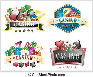 Set of casino vector illustration with gamling elements, ornate frame, card symbols and dice.