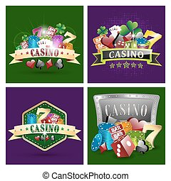 Set of casino vector illustrations with chips, card symbols,...