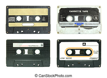 set of cassette tape isolated on white with clipping path