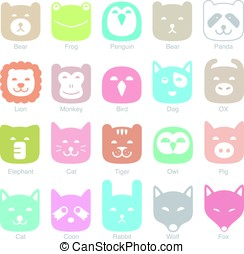 set of cat flat icons, vector illustration