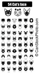 set of cat flat icons  vector illustration