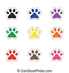 Set of cat footprints stickers