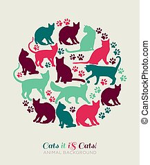 Set of cat icons.