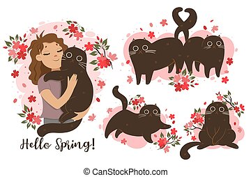 Set of cats in spring mood. Vector graphics