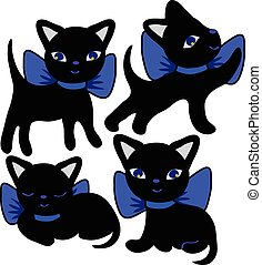 Set of cats silhouettes cartoon