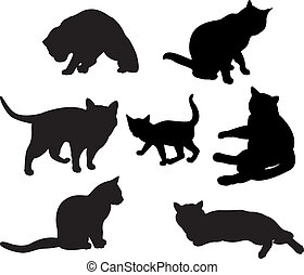 Set of cats silhouettes